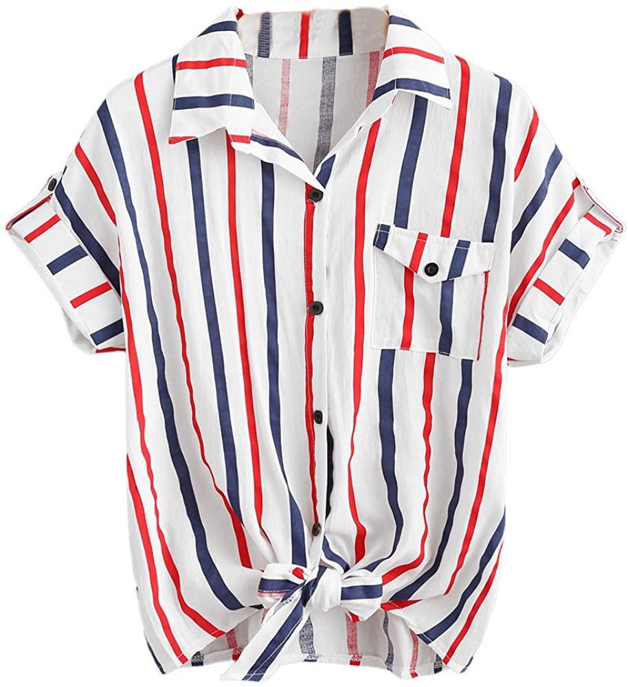 2018 Womens Stripe Shirts Ladies Blouses Short Sleeve Tops