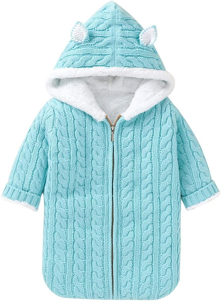 SunshineFace Baby Sleeping Bag, Fleece Lined Wearable Swaddle Blanket Newborn Infant Knit Stroller Wrap for 0-6M