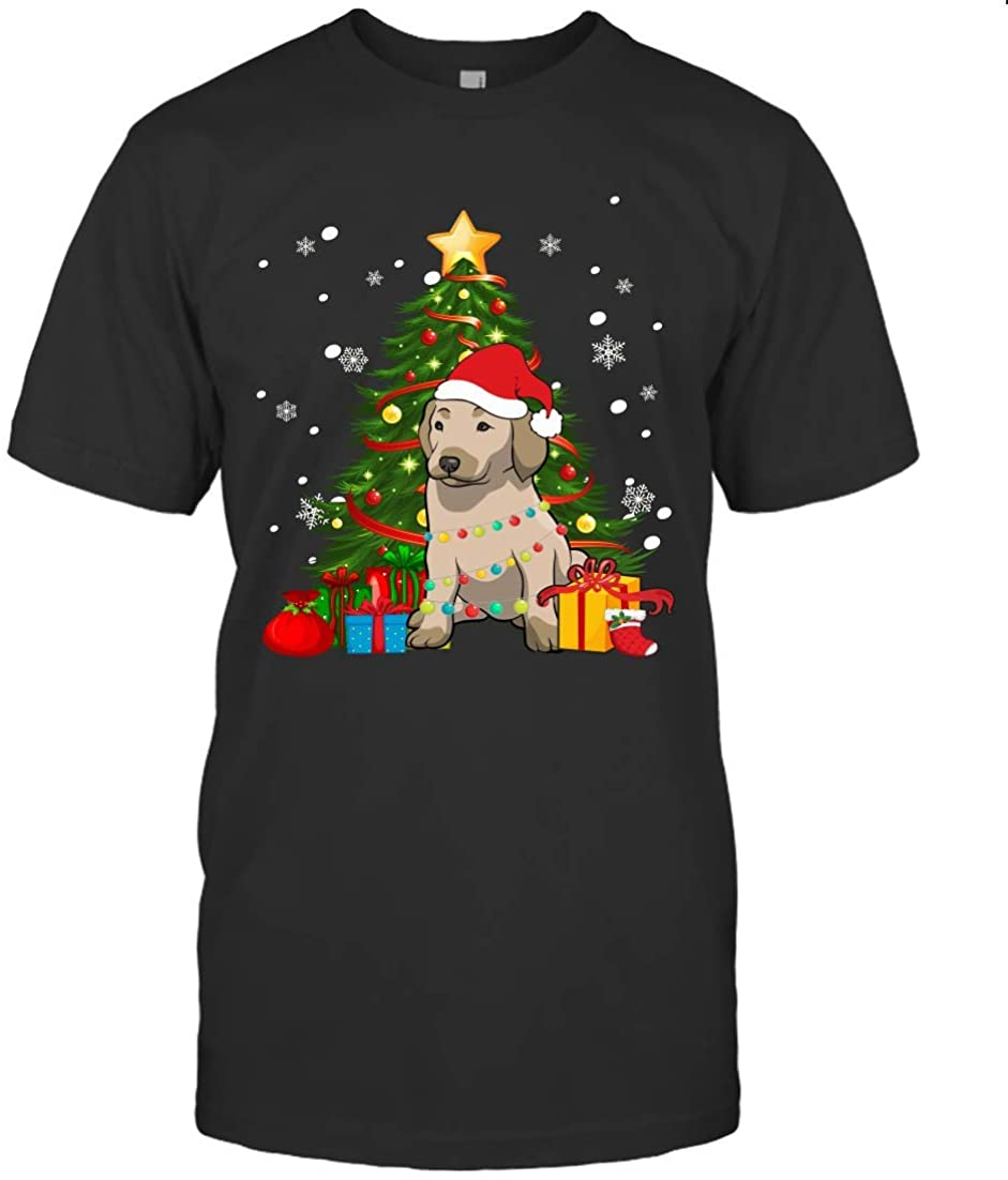 THE ELLIOTT Cute Christmas Dog Goldador Led Lights Gift Shirt Unisex T Shirt Sweatshirt Hoodie Black