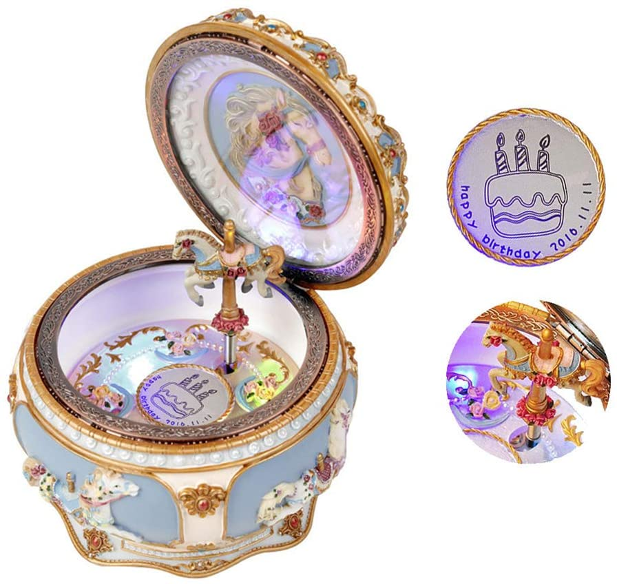 FACOCO Personalized Music Box Vintage Music Box LED Lights Twinkling Resin Carved Mechanism Musical Box(We Wish You a Merry Christmas 4.76.5IN)