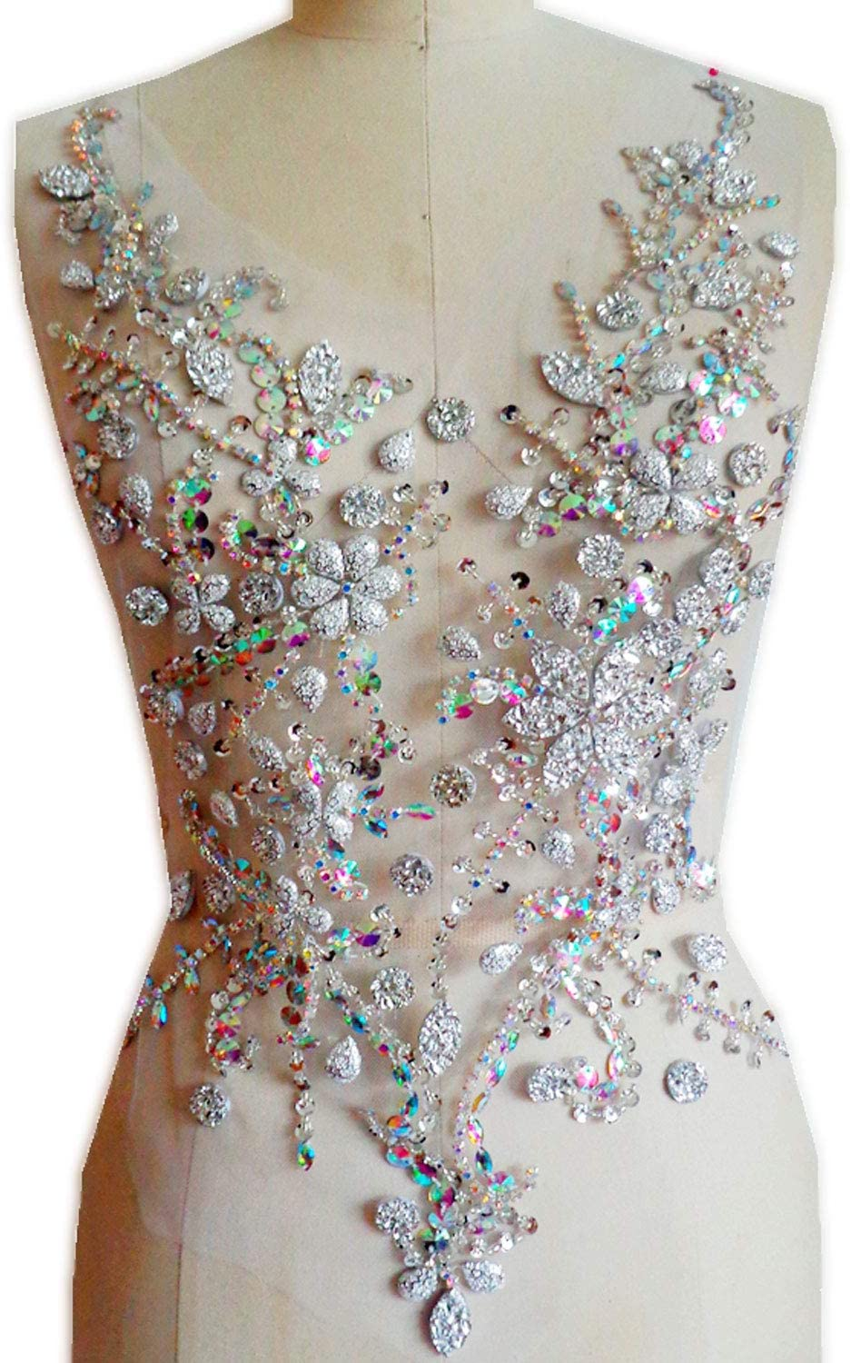 Rhinestones Bodice Applique Beading Patch Motif DIY Sewing Accessories for Dance Costumes Ballroom Dress Colorful