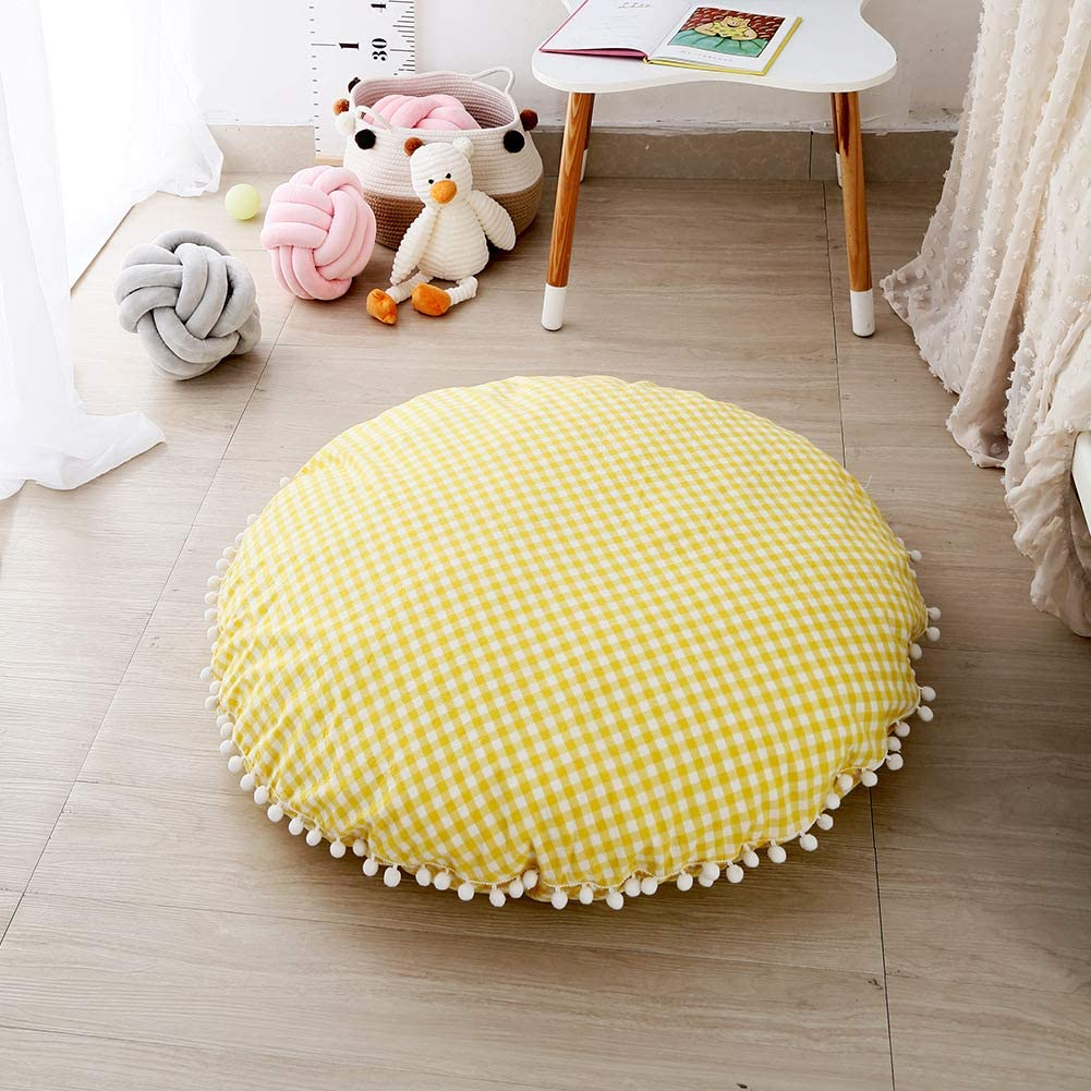 Satbuy Buffalo Check Round Area Rug for Boy Girl Baby Playmat Tummy Time Infant Play Mat Yellow Plaid Kids Floor Play mats Kids Room Decoration 37.5 inches