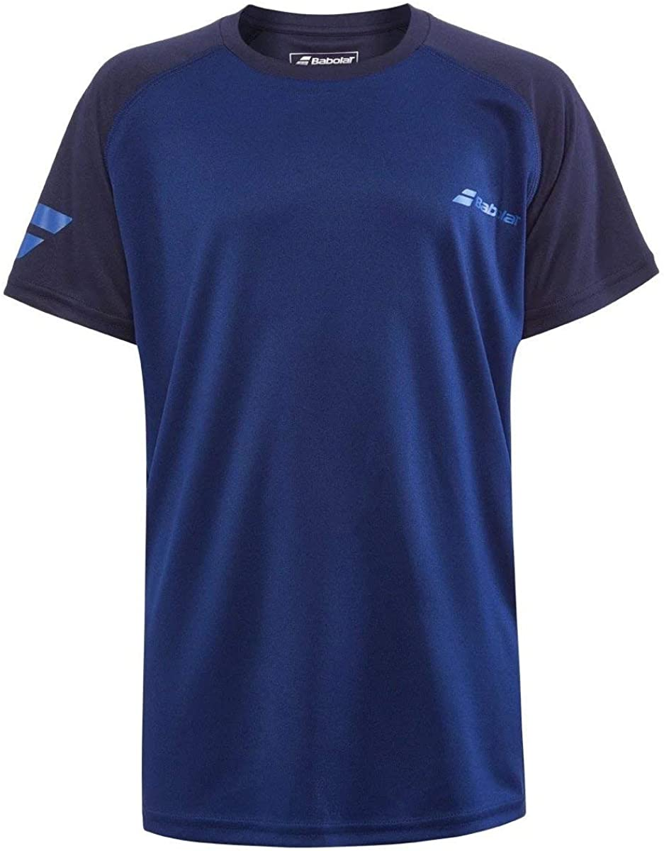 Babolat Boy's Play Crew Neck Tennis Tee, Estate Blue (US Youth Size 6-8)
