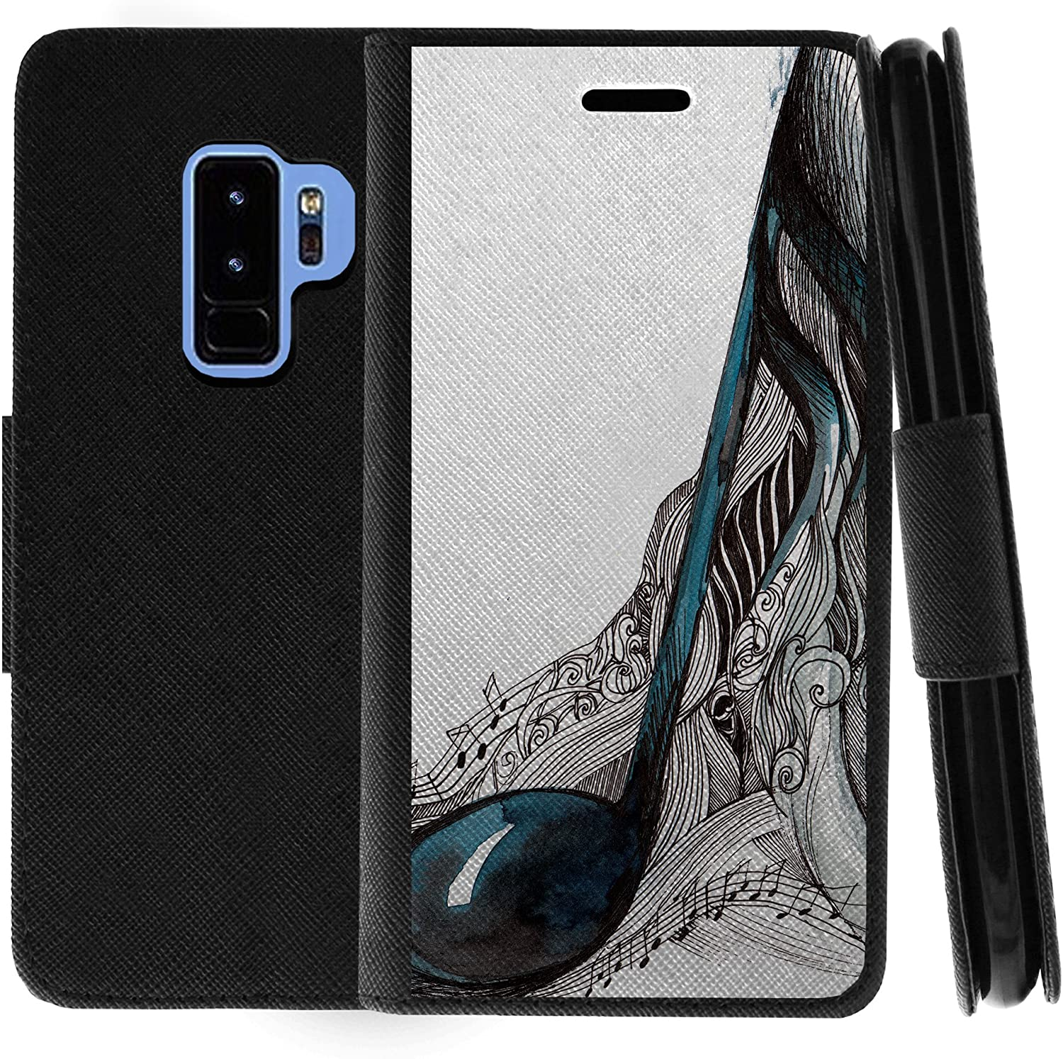 TurtleArmor | Compatible with Samsung Galaxy S9+ Case | S9 Plus Case | G965 | Flip Kickstand Wallet Case Leather Cover with Card Slots Music - Artistic Music Notes
