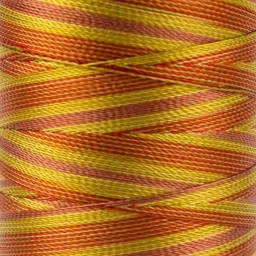 WonderFil Specialty Threads Mirage, 800m, Orange/Copper, 2-ply Random Dyed Multi-Coloured Rayon. 30wt