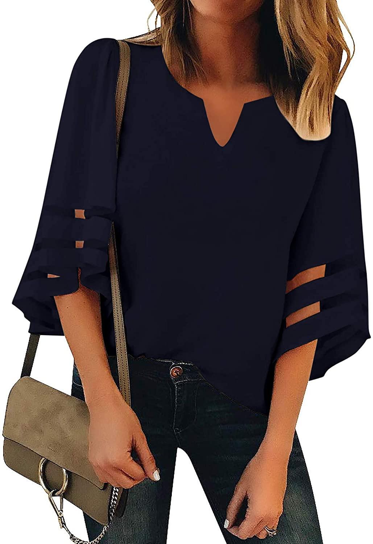 Women's V Neck Mesh Panel Blouse 3/4 Bell Sleeve Loose Top Shirt Chiffon Blouse Tops