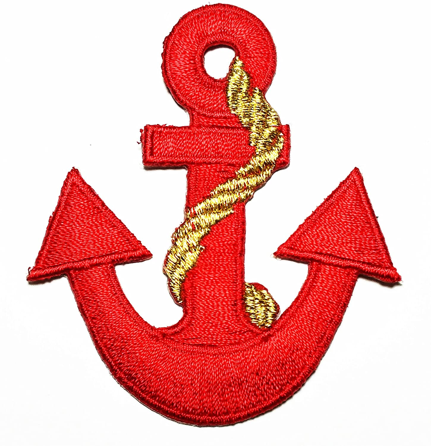 HHO Anchor navy biker tattoo retro ship boat sea sew Red embroidered Patch Embroidered DIY Patches Cute Applique Sew Iron on Kids Craft Patch for Bags Jackets Jeans Clothes