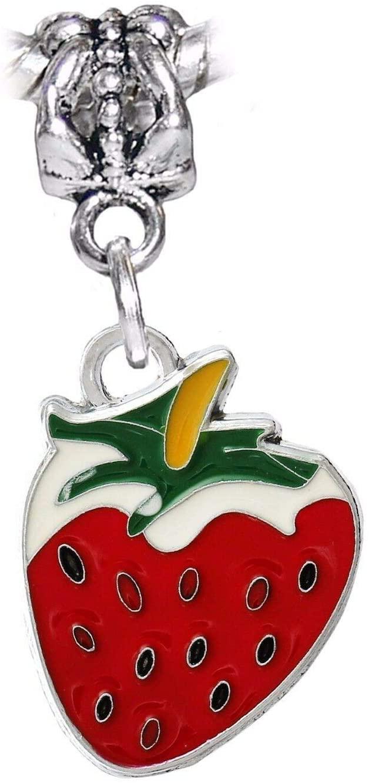 Charm Pendant - Jewelry Making DIY Strawberry Red Green Enamel Fruit Food Dangle Charm for European Bead Bracelets