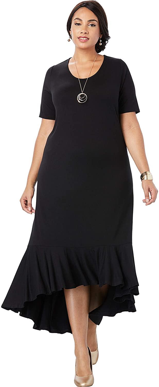 Jessica London Women's Plus Size Everyday Knit Flounce Hem Maxi Dress Soft & Lightweight Long Length