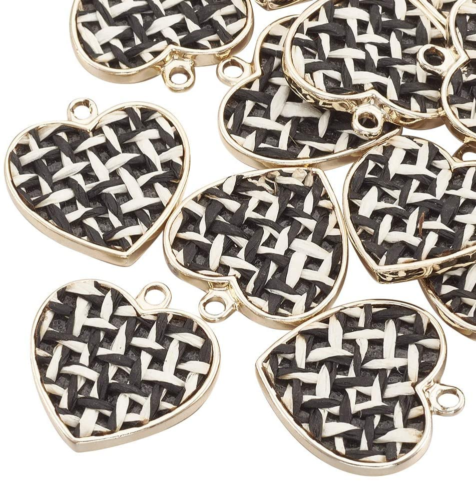 arricraft 50 Pcs Black Golden Heart-Shaped Alloy Pendants with Linen for Necklace Jewelry Making