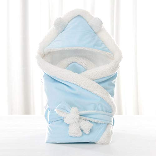 Swaddle Blankets Wrap - Soft Thick Fleece Sherpa Minky Baby Sleeping Wraps - Fuzzy Warm Cozy Soft Unisex Receiving Blankets for Boys, Girls, Toddler - Newborn Accessory (Blue,8080)