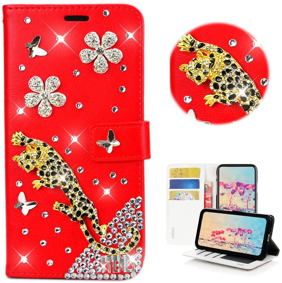 STENES Bling Wallet Case Compatible with Samsung Galaxy S10 6.1 Inch - Stylish - 3D Handmade Leopard Butterfly Floral Flowers Leather Case with Wrist Strap & Cable Protector [4 Pack] - Red