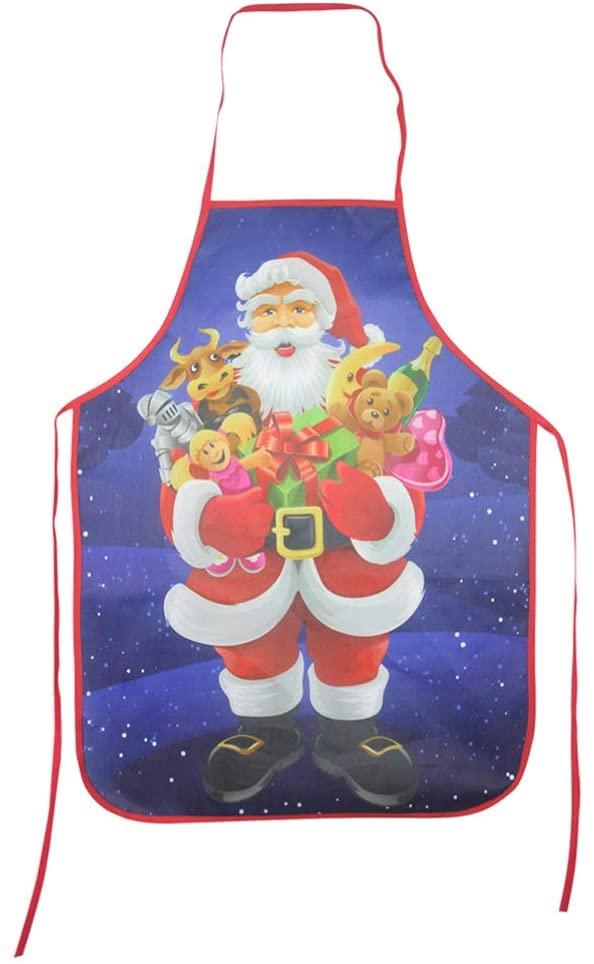 HEMOTON Christmas Apron Funny Santa Claus Apron Kitchen Cooking Baking Apron for Christmas Holiday Decoration