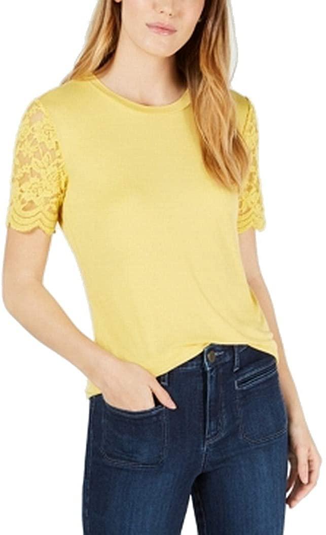 Maison Jules Womens Knit Lace Sleeves T-Shirt
