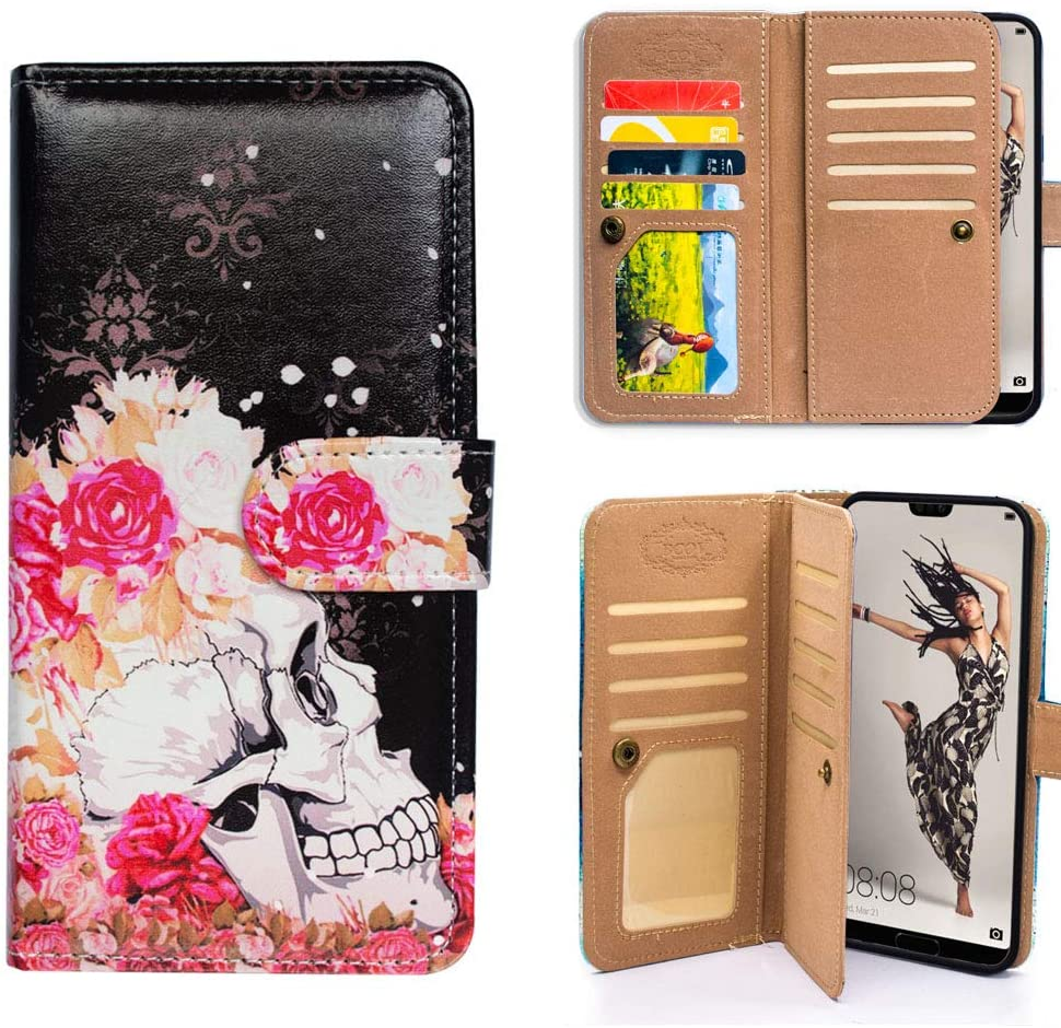 Bfun Packing P20 Pro Case,Bcov Red Rose Skull Multifunction Wallet Leather Cover Case for Huawei P20 Pro