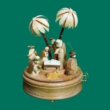 Music box play clock play box Nativity scene, 28-st. ''Silence Nacht' of 'largely unpainted height of approx. 25 cm NEW