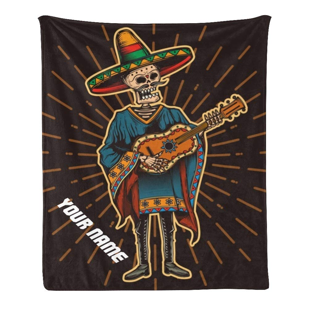Personalized Kids Fleece Blanket with Name Custom Mexican Guitar Skull Baby Throw Blanket for Bed (30 x 40 inches)