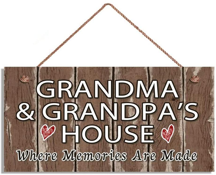 MAIYUAN Wood Sign Grandma and Grandpa's House Sign, Where Memories are Made, Brown Rustic Sign, Gift for Grandparents, 5