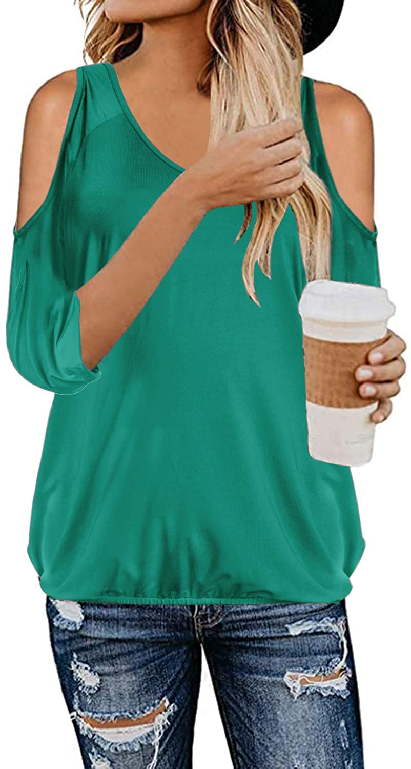 Style Dome Lace Tops V Neck Long Sleeve Button Down T Shirt Casual Tunic Blouse