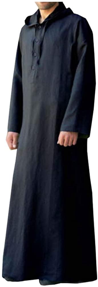 Kedera Mens Kaftan Hooded Robe Cotton Casual Loungewear Button Long Night Gown Shirt Thobe