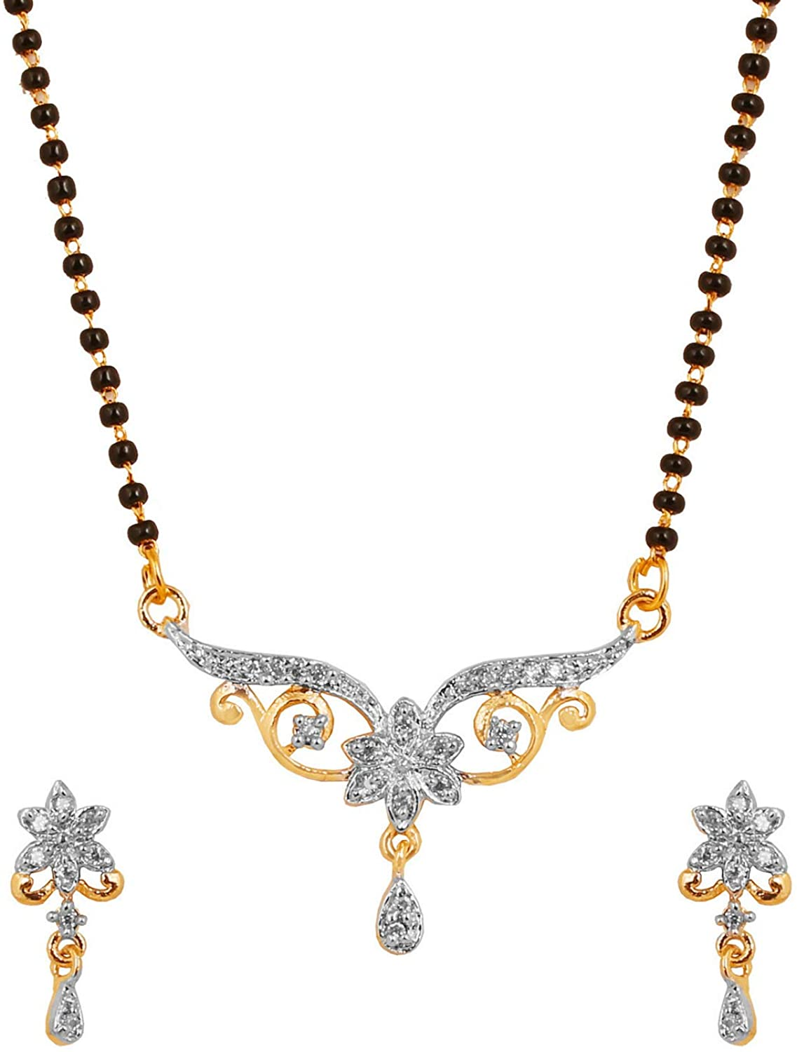 Touchstone New Indian Bollywood Graceful Ethnic Studded Diamond Look Cubic Zirconia CZs Symbolic Intertwined Black Beads Mangalsutra Pendant Set in Gold and Silver Tones for Women.
