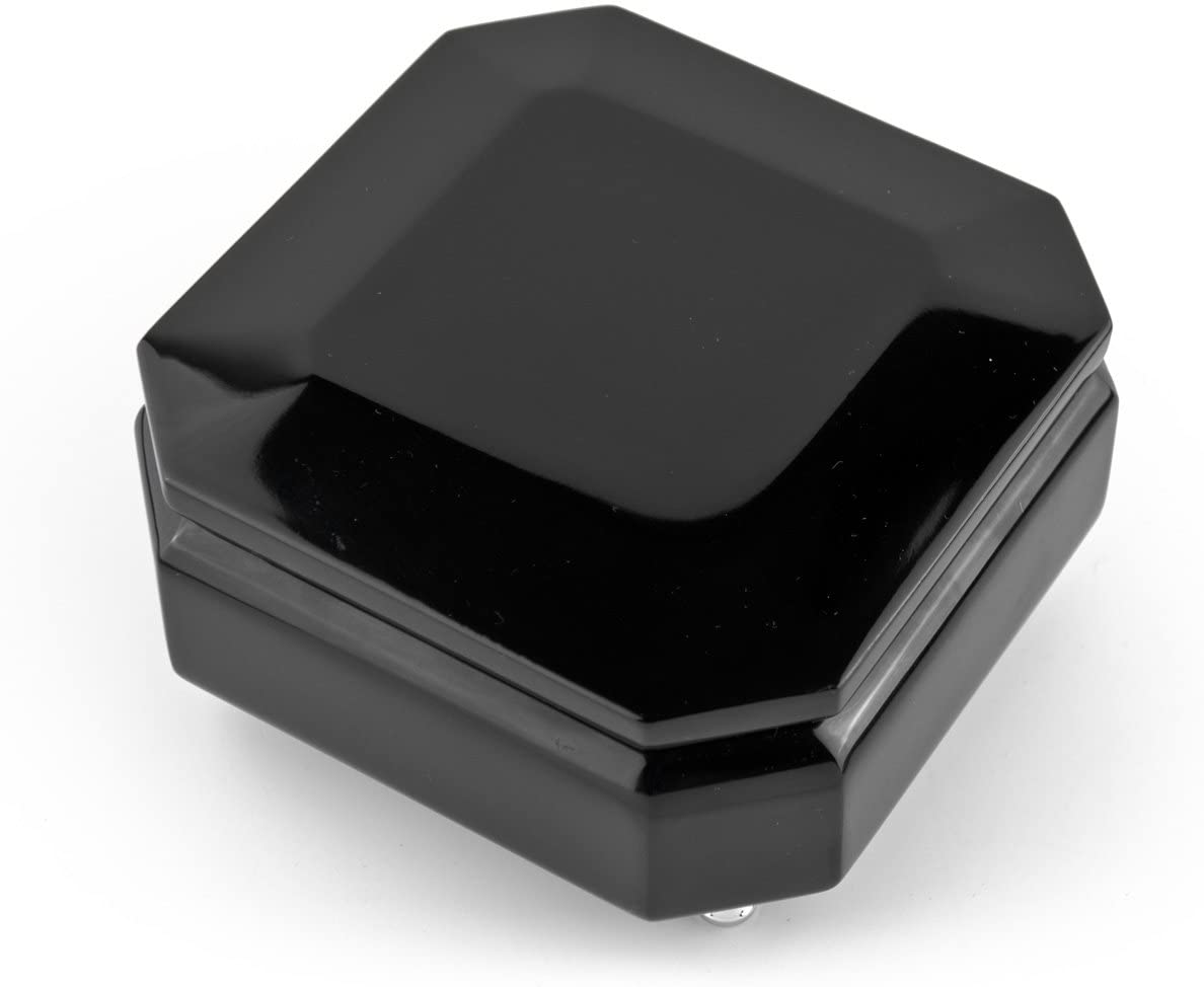 Midnight Black 18 Note Hi Gloss Beveled Musical Jewelry Box - Many Songs to Choose - Clair de Lune