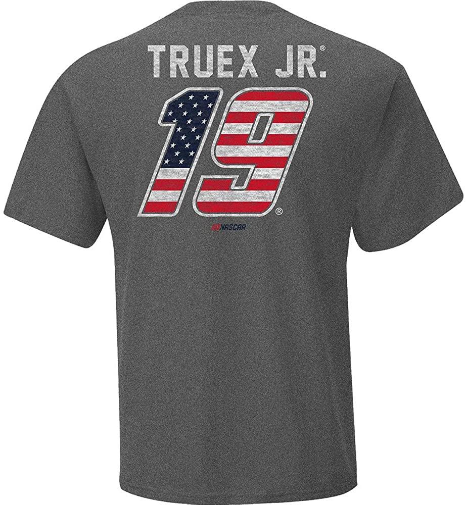 Checkered Flag Martin Truex Jr 2020 Patriotic #19 Team Logo T-Shirt Gray