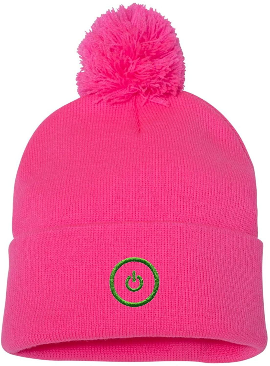 Go All Out Adult Gaming Button Embroidered Knit Beanie Pom Cap