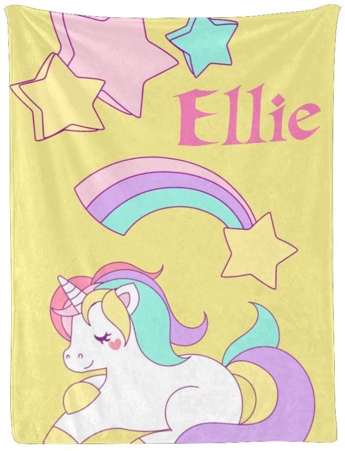 Yeshop Named Unicorn Baby Throw Blanket Super Soft for Boy & Girl, Custom Fleece Nursery Swaddling Blankets with Your Name Baby Shower Birthday Gift 30x40 Inches