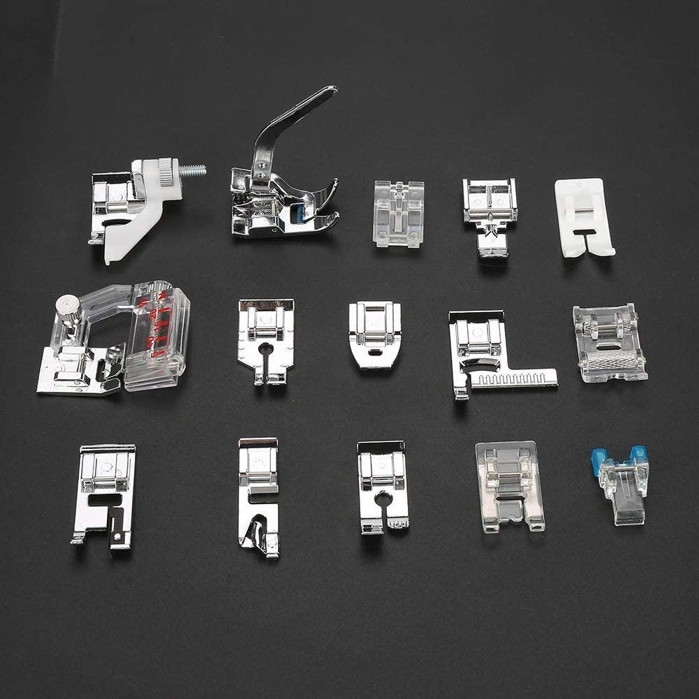 Delaman 15pcs Press Foot, Household Multifunctional Sewing Machine Parts Presser Foot, Sew Machine Part