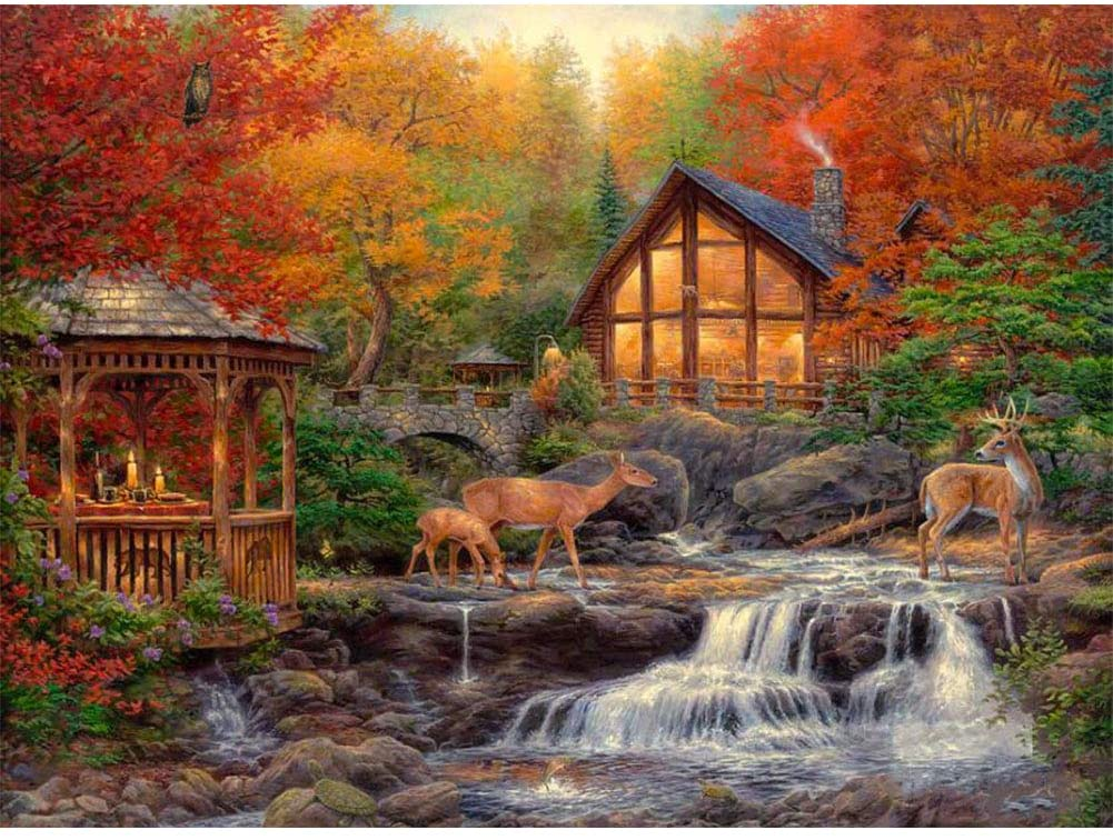 DIY 5D Diamond Painting Number Kits, Mountain Scenes Forest House Full Drill Crystal Rhinestone Cross Stitch Pictures Jungle Animal Deer Embroidery Painting, Arts Craft for Home Wall Decor Gift