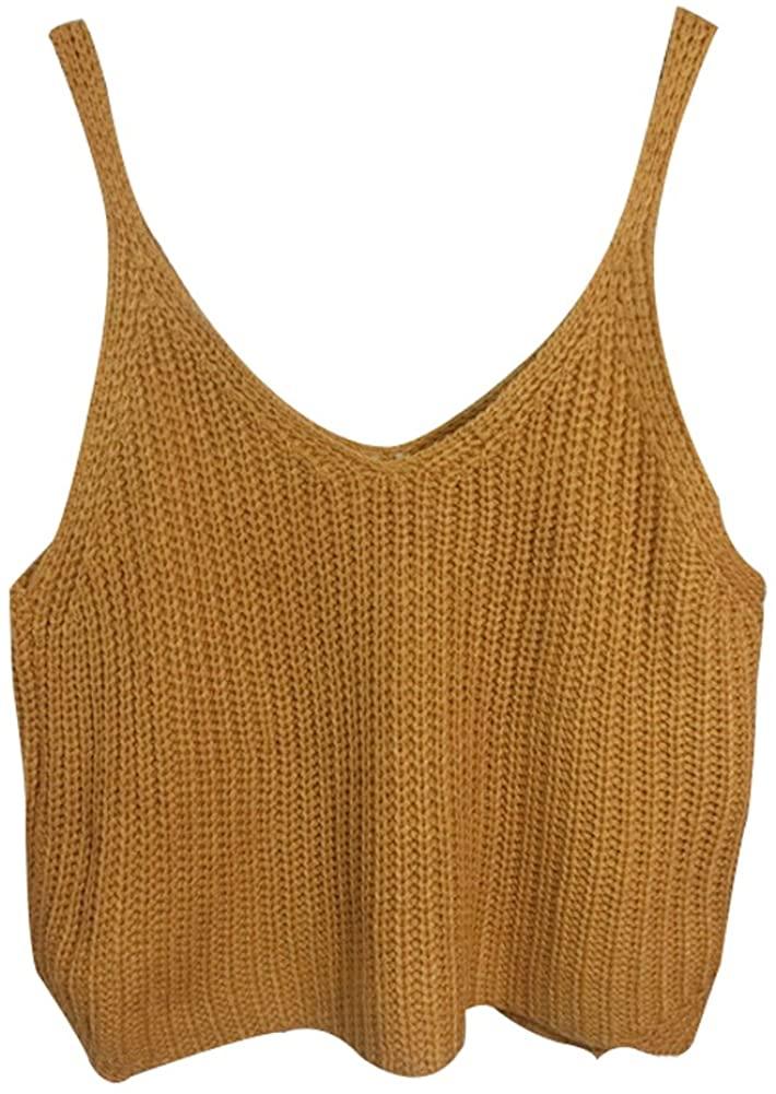 Aphratti Women's Sleeveless V-Neck Crochet Crop Top Shirt