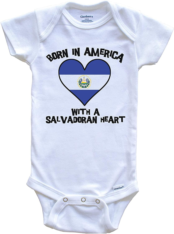 Born in America with A Salvadoran Heart Baby Onesie El Salvador Flag Baby Bodysuit