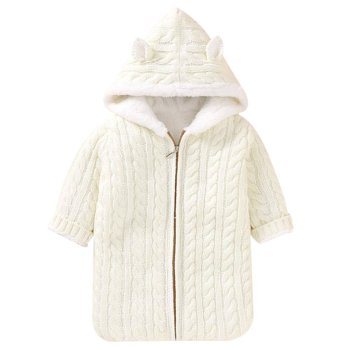 Baby Sleeping Bag Fleece Lined Swaddle Blanket Newborn Infant Knit Stroller Wrap