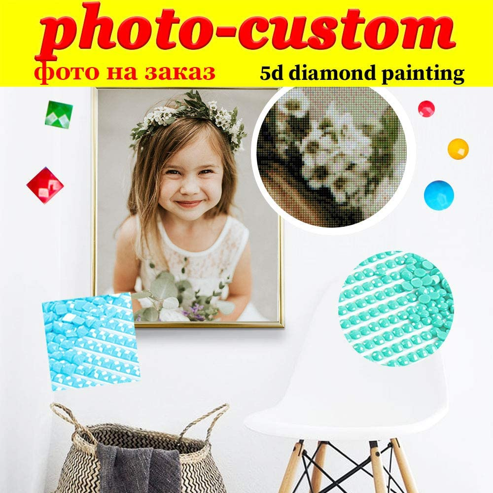 Custom 5D Diamond Painting by Number Kits, DIY Personalized Photo Customized, Make Your Own Full Diamond Rhinestone Embroidery,Round Drill (19.7x15.8inch/50x40cm)