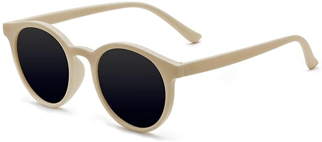 Kelens Vintage Polarized Horn Rimmed Round Circle Sunglasses UV400 Protection