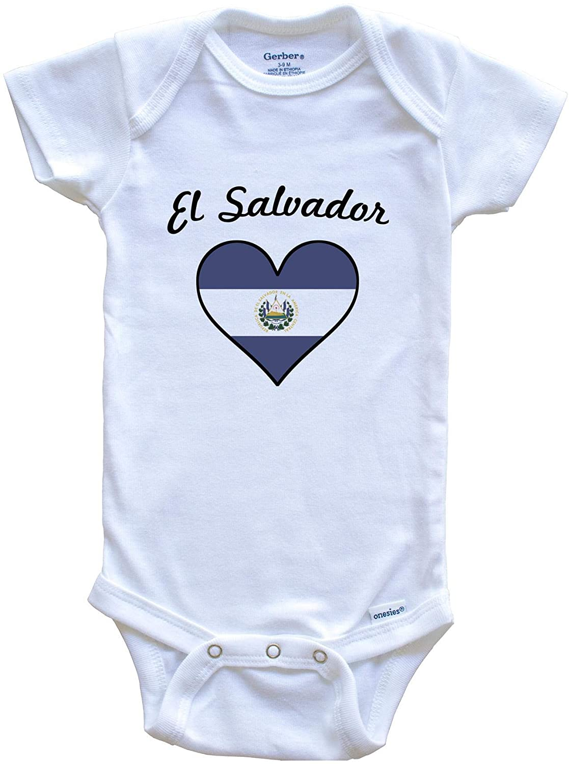 Really Awesome Shirts El Salvadorian Flag Heart Baby Onesie