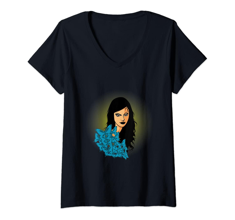 Womens Woman Butterfly Spiritual Person V-Neck T-Shirt