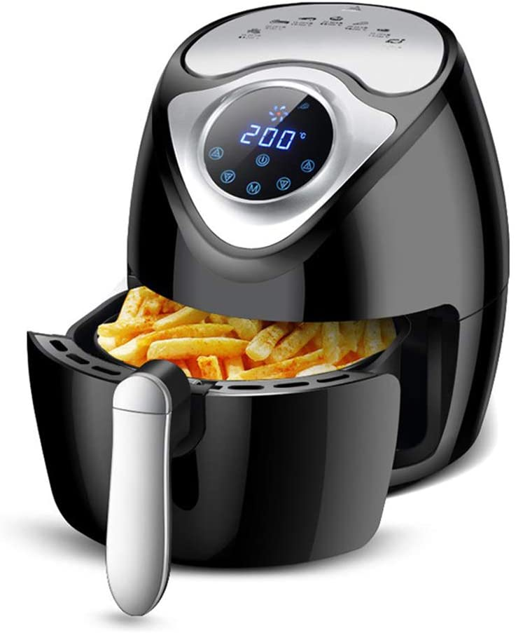 LUSHUN Hot air Fryer, Electric Air Fryer + Oven Cooker with Temperature Control, Non Stick Fry Basket, Recipe Guide + Auto Shut Off Feature with 8 Functions + Recipes(2.6L)