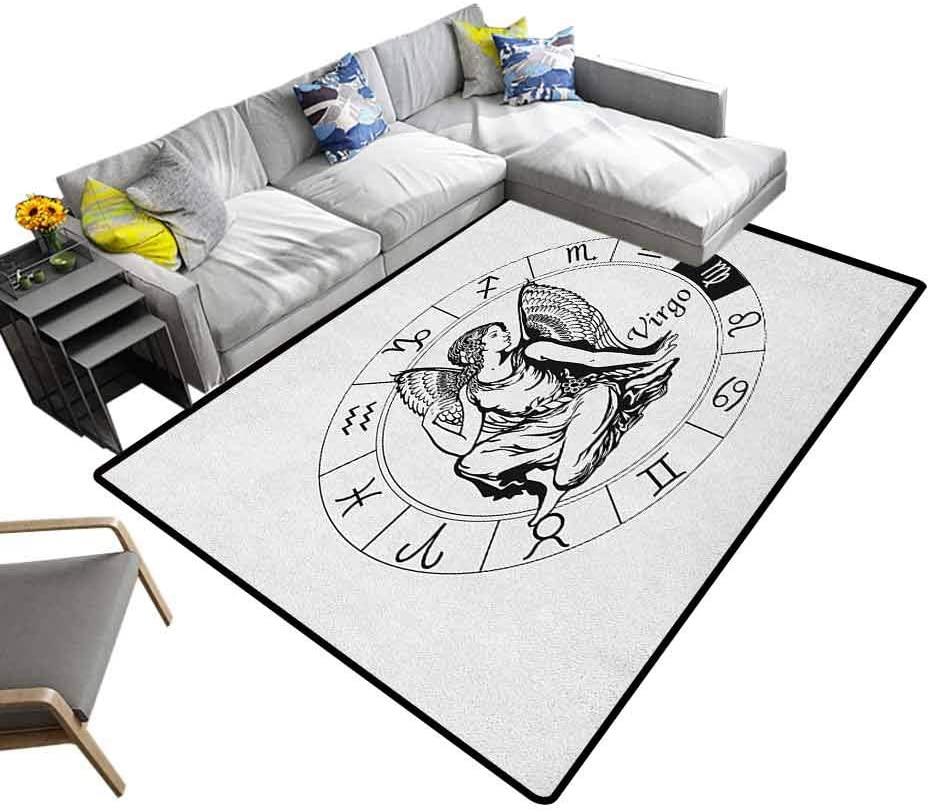 Indoor/Outdoor Rug Virgo, Super Soft Area Rugs Black and White Zodiac Sign Horoscope Greek Culture Inspired Elements Mythological for Kids Nursery Black White, 6 x 9 Feet