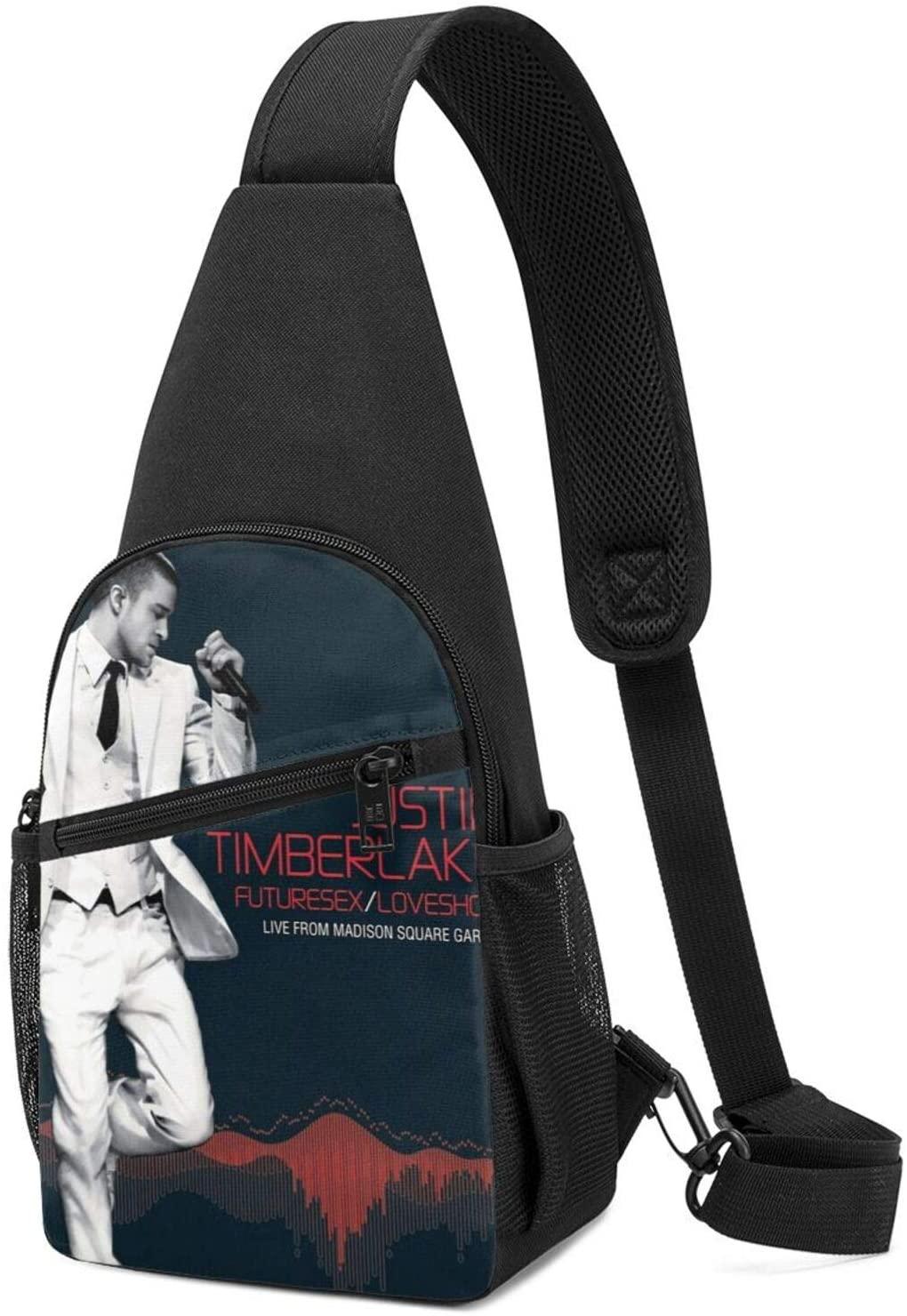 AsziSham Justin Timberlake Men Women Sling Bag Chest Shoulder Backpack Fanny Pack Crossbody Bags Black