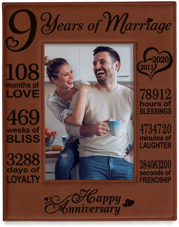 KATE POSH 2011-2020 Our 9th Wedding Anniversary, 9 Year Anniversary, 9 Years of Marriage, Husband & Wife, Boyfriend & Girlfriend, Gifts for Couple - Engraved Leather Picture Frame (5