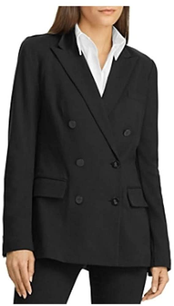 Ralph Lauren Lauren Ralph Lauren Double-Breasted Ponte-Knit Blazer in Black