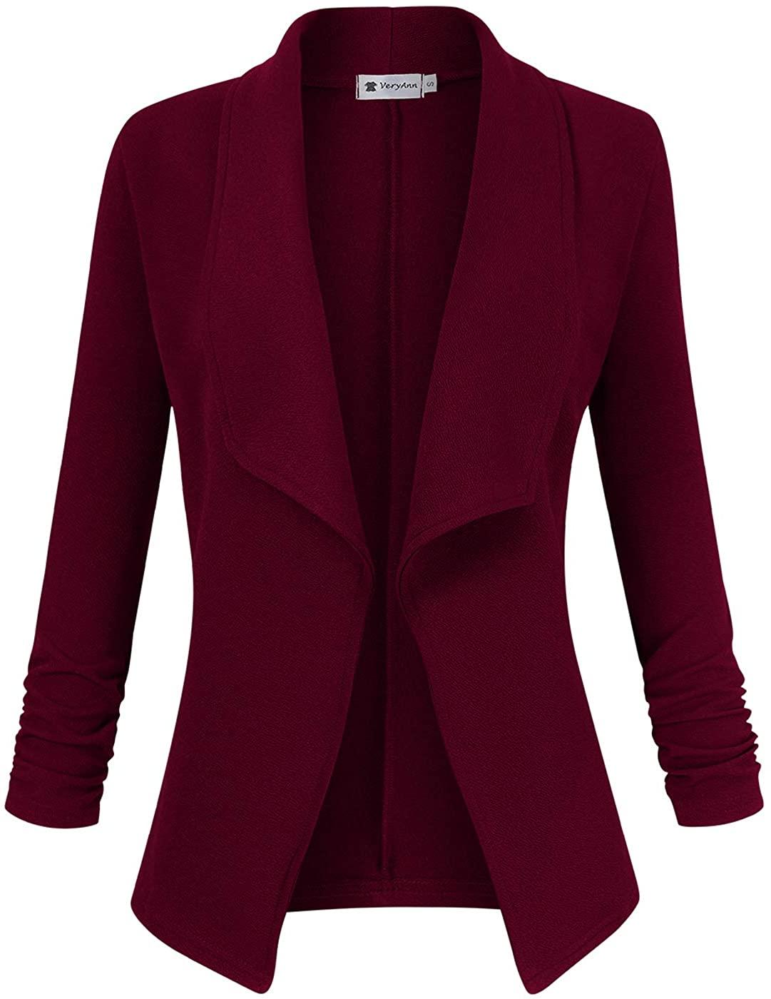 VeryAnn Women's 3/4 Sleeve Solid Blazer Open Front Cardigan Jacket for Work Office