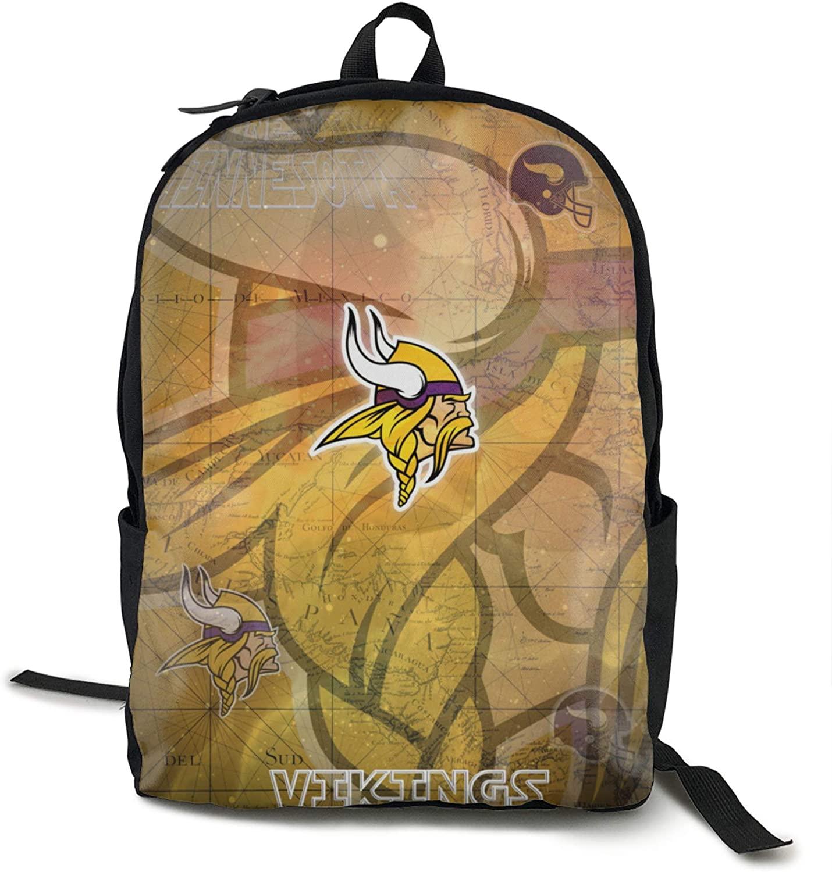FDLB Unisex Classic Fashion Minnesota Football Viking Casual Backpack Travel Backpack Laptop Backpack