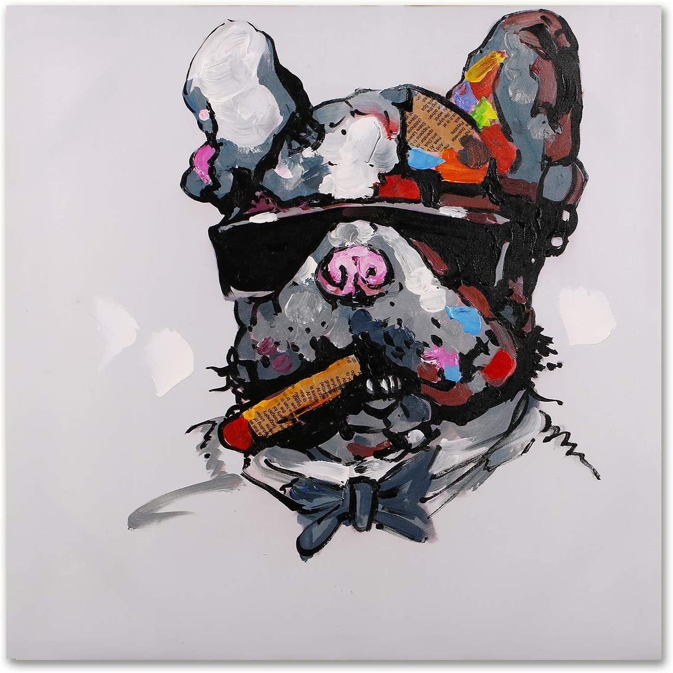 Modern Pop Art Decor - FRAMED - Smoking Pit Bull with Sunglasses Animal Wall Art Canvas Print Home Decor Wall Art, Gallery Wrap Inner Frame, 24x24