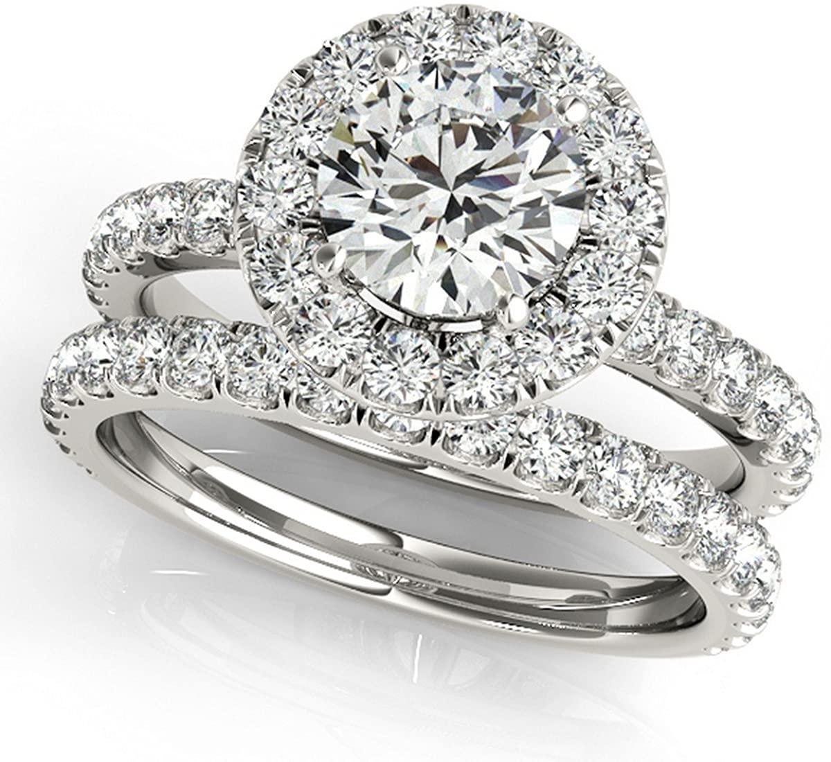 18k Gold French Pave Halo Diamond Bridal Ring and Semi Eternity Band Bridal Set (3.25ct)