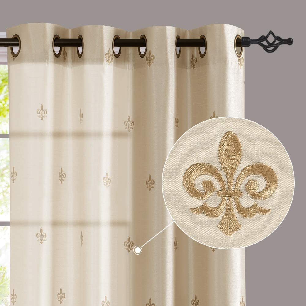 jinchan Flur De Lis Embroidered Curtains for Bedroom 95 inches Long Faux Silk Semi Sheers Embroidery Window Curtain for Living Room Drapes Grommet Top 2 Panels Ivory