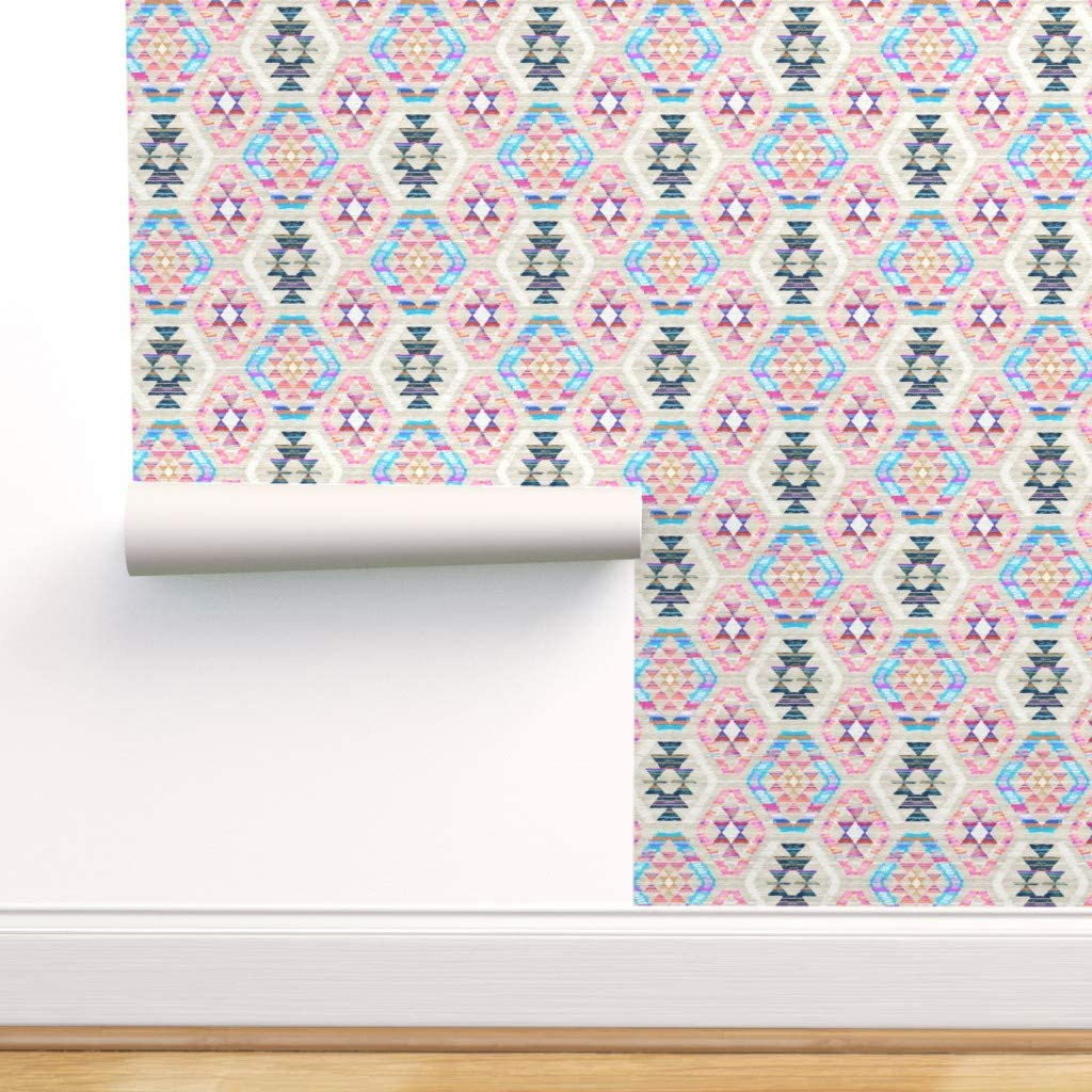 Spoonflower Pre-Pasted Removable Wallpaper, Kilim Pastel Boho Baby Girl Nursery Woven Textured Geometric Pink Cream Turquoise Print, Water-Activated Wallpaper, 24in x 144in Roll