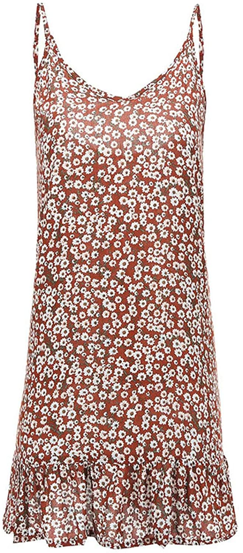Ashley-OU Sexy Slip Dress Floral Print Spaghetti Strap Summer Dress 2019 V Neck Ruffles Mini Dress